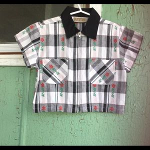 VTG Plaid Embroidered Rockabilly Crop Top Jacket